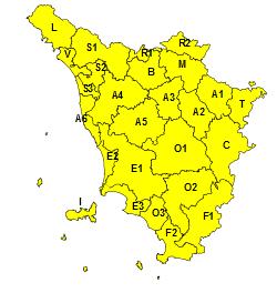 Codice giallo per pioggia e temporali, fino alle 20 di domani, domenica 14 giugno