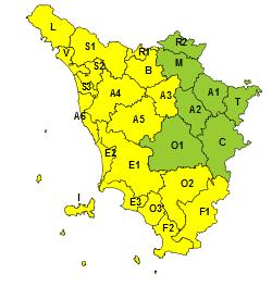 Codice giallo per temporali forti dalle 18 di oggi fino alle 13 di giovedì 15 ottobre