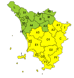 Maltempo, codice giallo per pioggia e temporali su centro e sud della Toscana