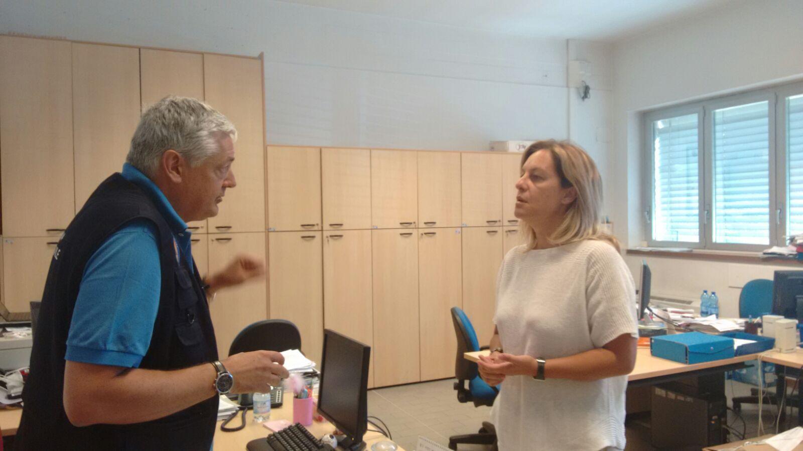 L'assessore Fratoni è arrivata alla sala operativa della Protezione civile