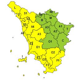 Maltempo, codice giallo per piogge e temporali fino alla mezzanotte di domani