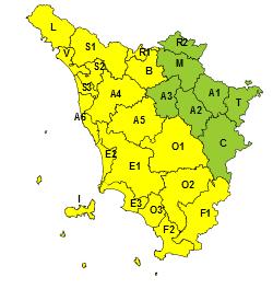 Sopra: le zone interessate dal Codice giallo martedì 19 novembre. Sotto a destra: le aree di codice giallo domani, mercoledì 20 novembre