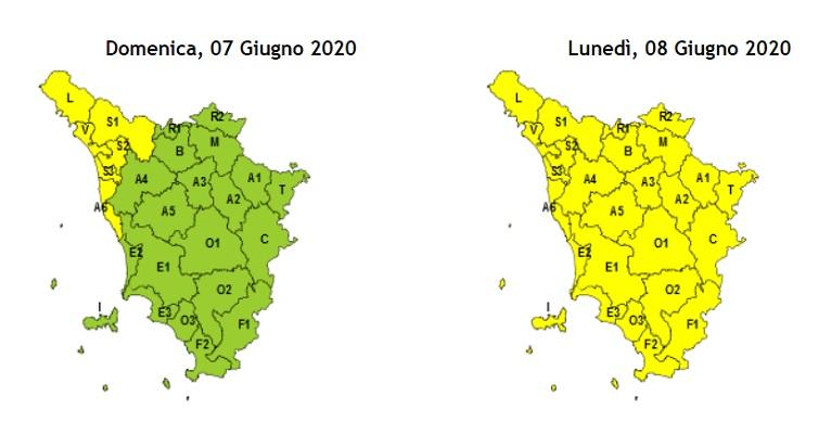 Maltempo, il codice giallo per pioggia si estende a tutta la Toscana