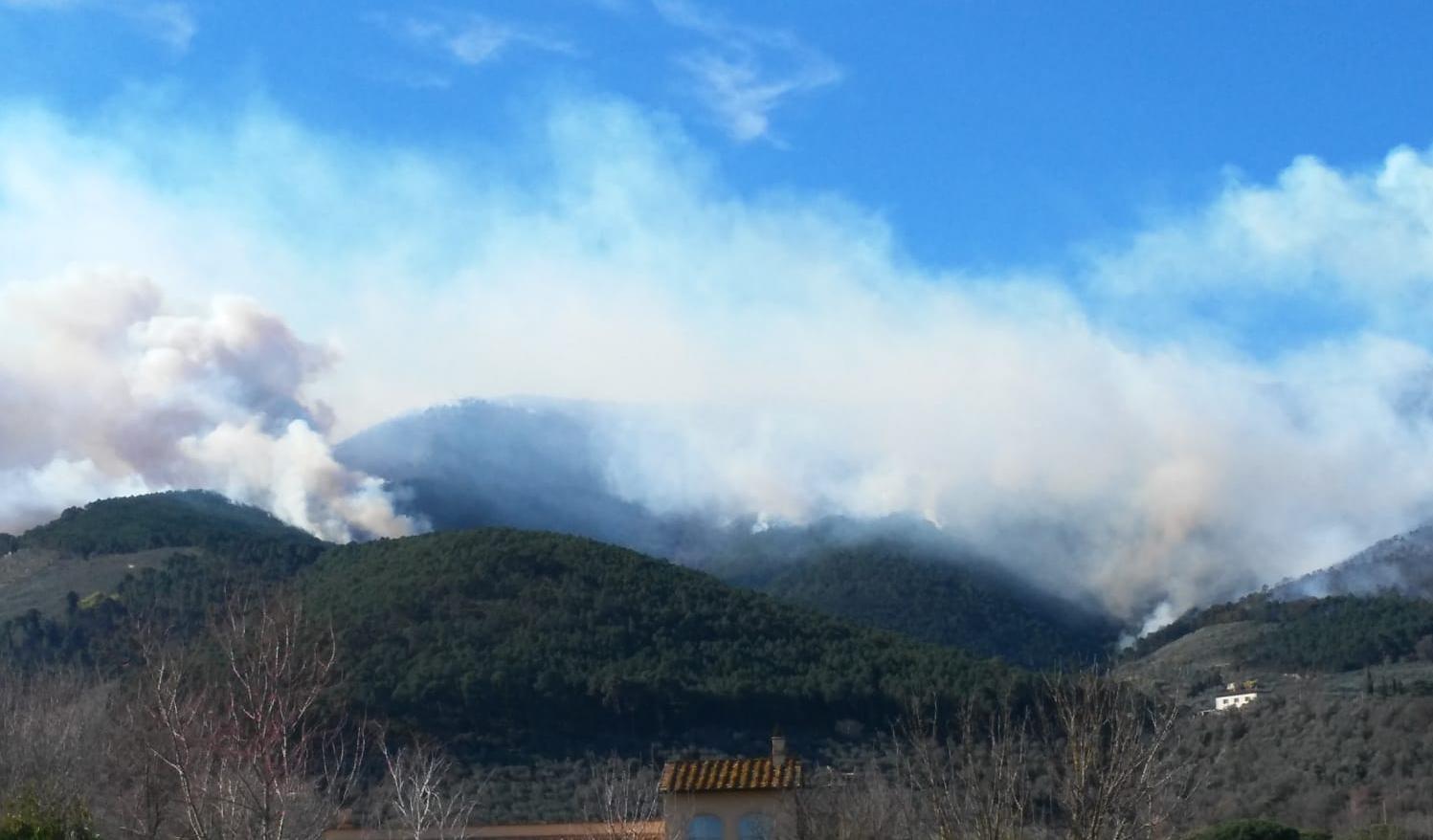 L'incendio nel comune di Vicopisano