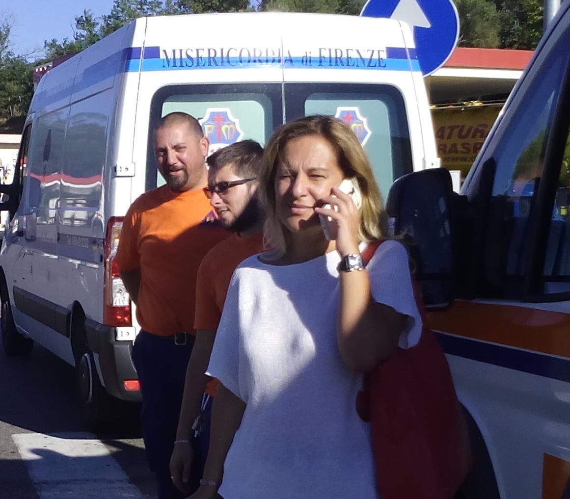 Federica Fratoni alla partenza della Colonna mobile