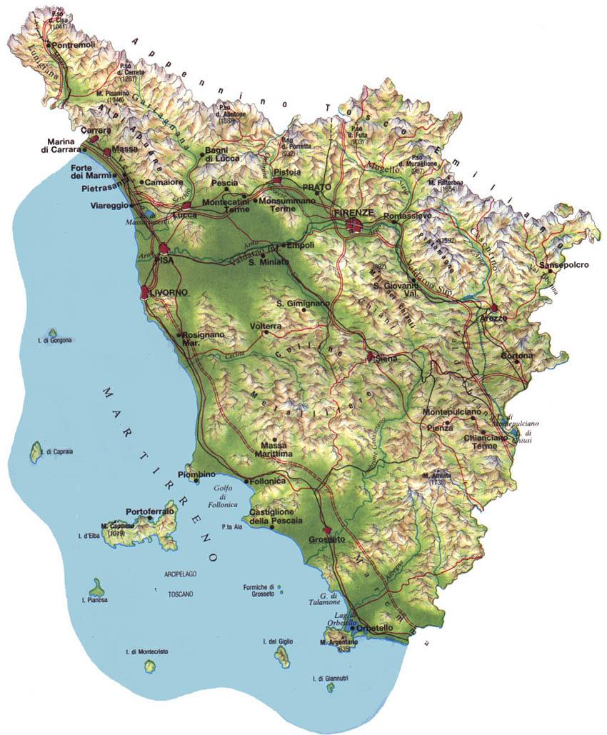 Cartina Costa Tirrenica Toscana.Le Regioni D Italia