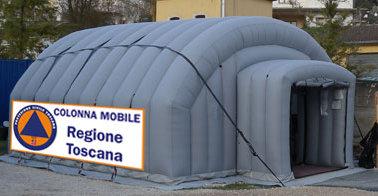 La tenda-segreteria della colonna mobile
