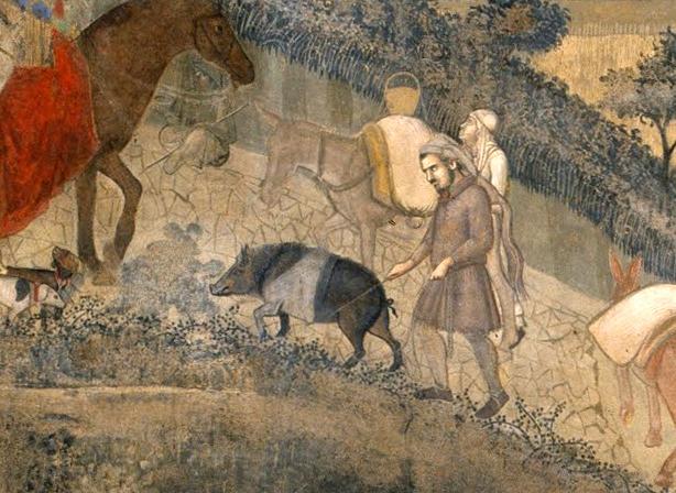 Ambrogio Lorenzetti, La città del buon governo (particolare)