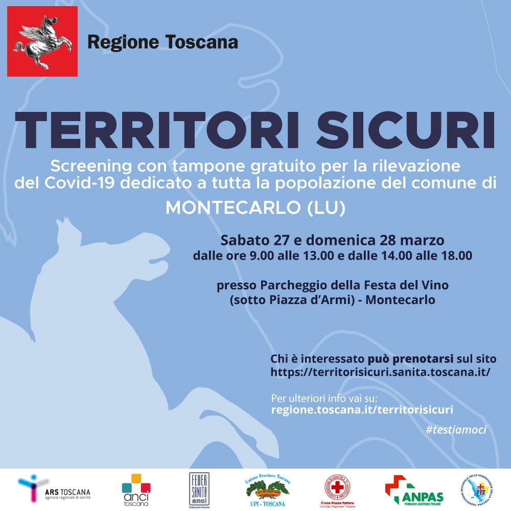 Covid-19, screening di massa a Montecarlo di Lucca